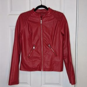 New Look Red Faux Leather Moto Jacket